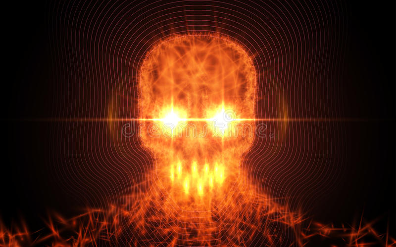 Abstract skull from fire, light particles on dark background. Vector illustration. Abstract skull from fire, light particles on dark background. Vector royalty free illustration