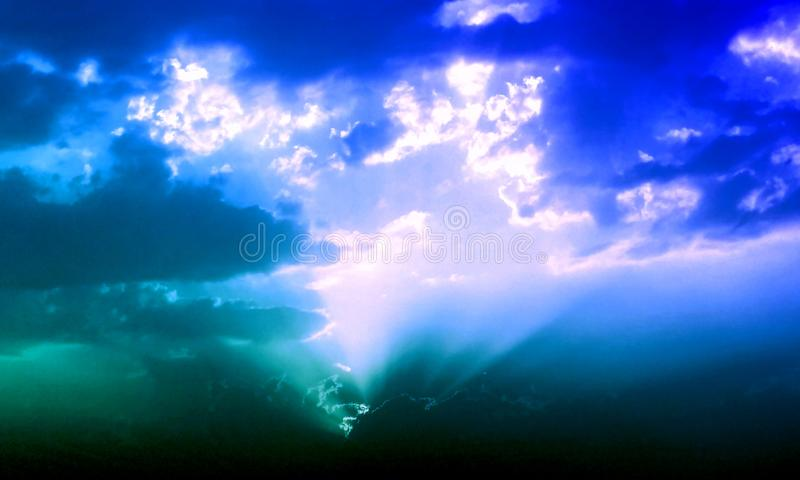 Abstract Sky Blue Smoke In Dark. royalty free illustration