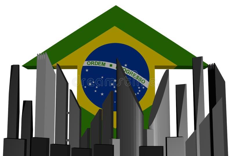 Abstract skyline and Brazil flag arrow vector illustration