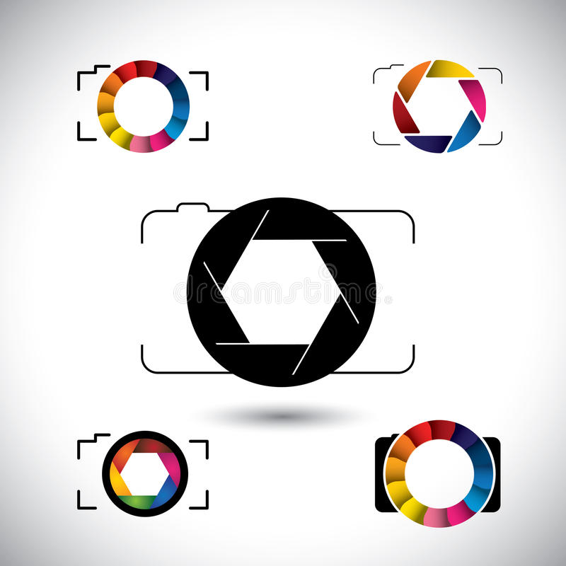 Abstract slr camera concept vector icons. This graphic illustration represents camera with big lens, aperture with blades, camera shutter vector illustration