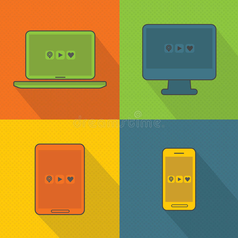 Abstract smart devices set on dotted background stock illustration