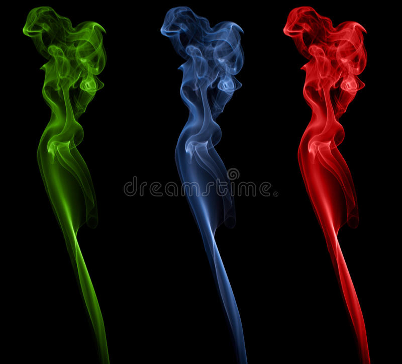 Abstract smoke in different color stock photography