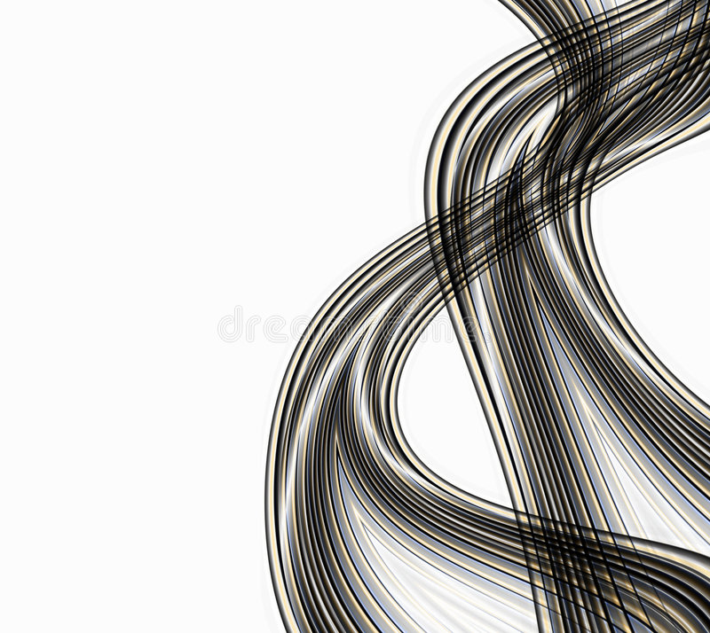 Abstract Smoke Waves. Abstract illustration design of black and gold lines like cables or wires or smoke trails isolated on white copyspace good for technology royalty free illustration