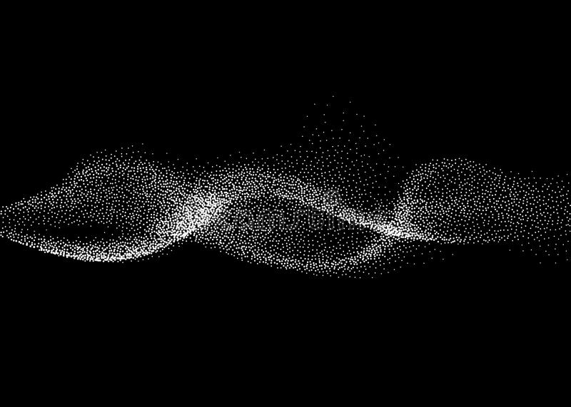 Abstract smokey wave vector background. Nano dynamic flow with 3d particles. Smoky dynamic wavy effect flow illustration stock illustration