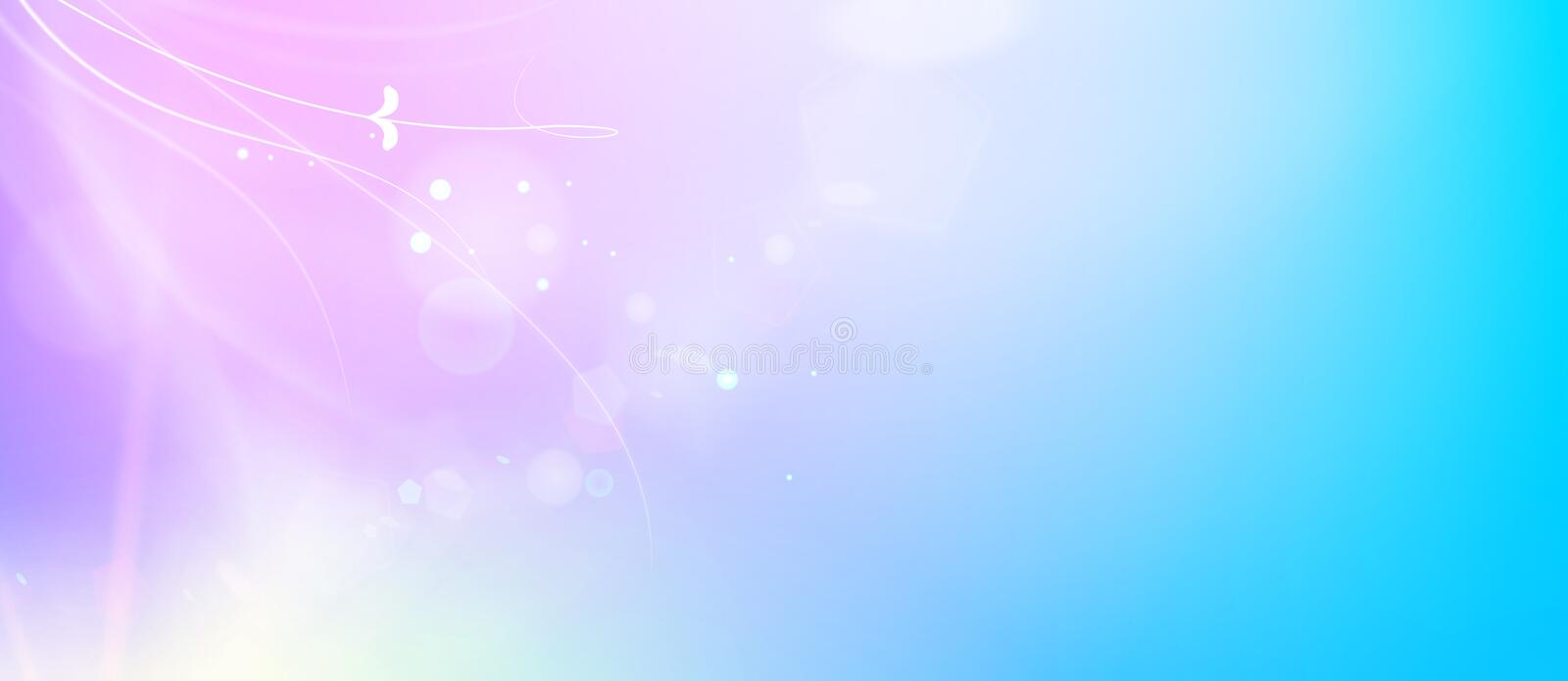 Abstract smooth blue lines and shining purple flow of the magic background. Bright sparks over deep violet space vector illustration