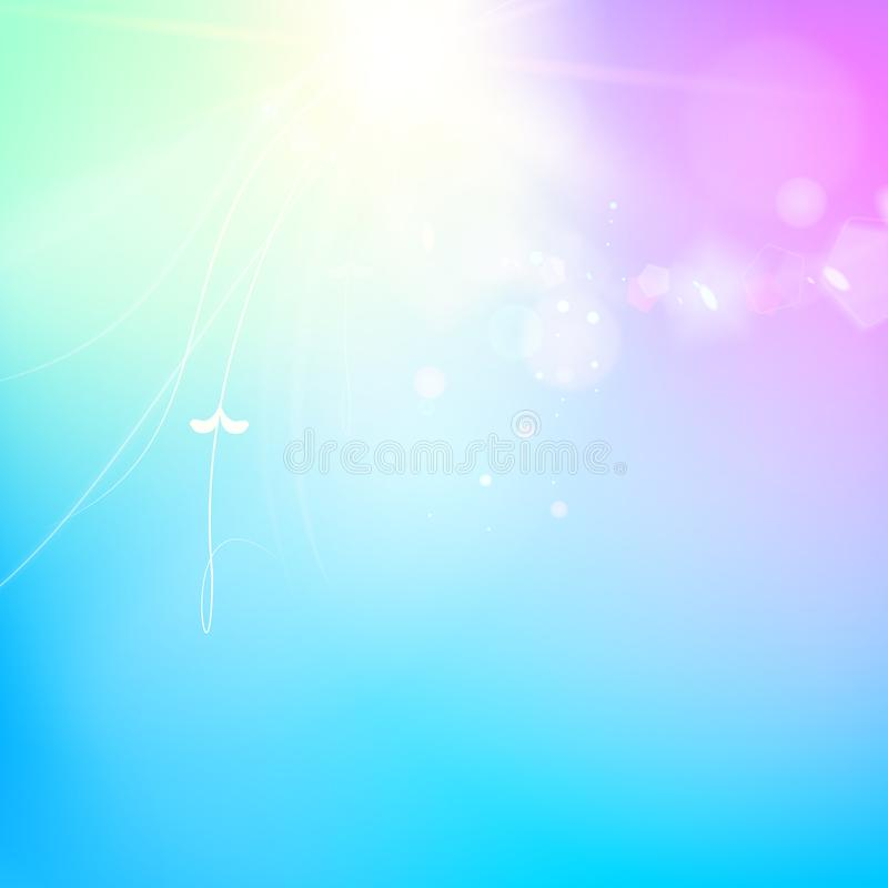 Abstract smooth blue lines and shining purple flow of the magic background. Bright sparks over deep violet space royalty free illustration