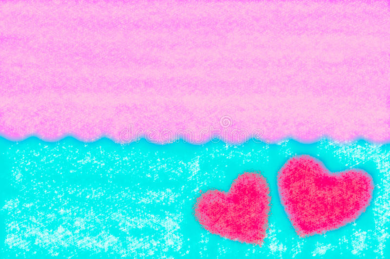 Abstract smooth blur blue and pink background with heart royalty free stock photo