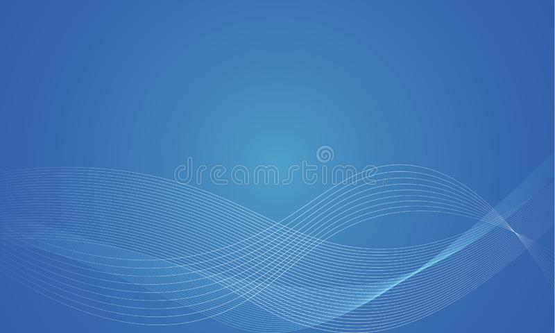 Abstract smooth color wave vector. Curve flow blue motion illustration. Smoke design stock illustration
