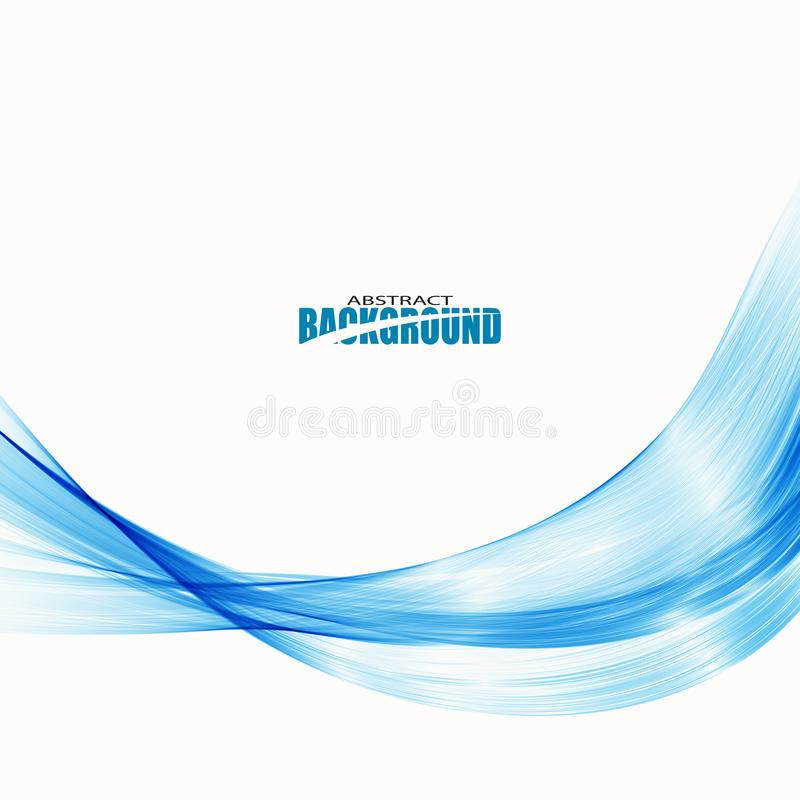 Abstract smooth color wave vector. Curve flow blue motion illustration. Smoke design. Vector lines stock illustration