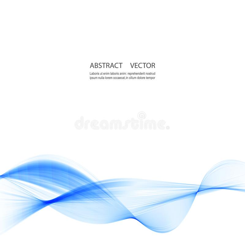 Abstract smooth color wave vector. Curve flow blue motion illustration. Smoke design. vector illustration
