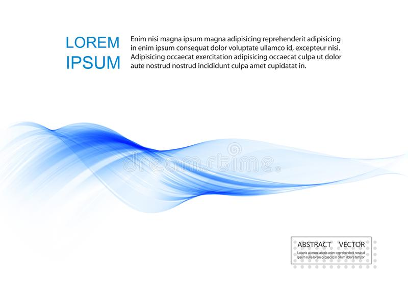 Abstract smooth color wave vector. Curve flow blue motion illustration. Smoke design. royalty free illustration