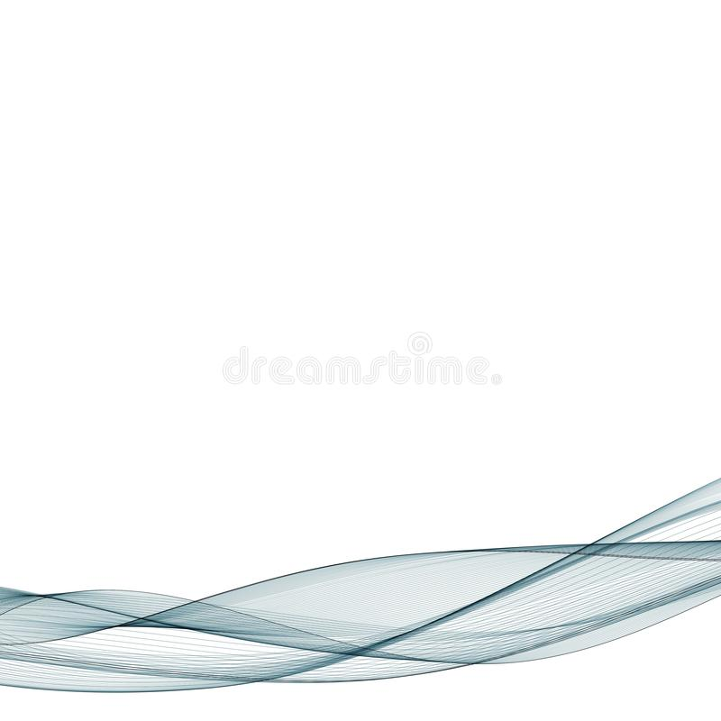 Abstract smooth color wave vector. Curve flow blue motion illustration. Smoke design. Vector lines. royalty free illustration