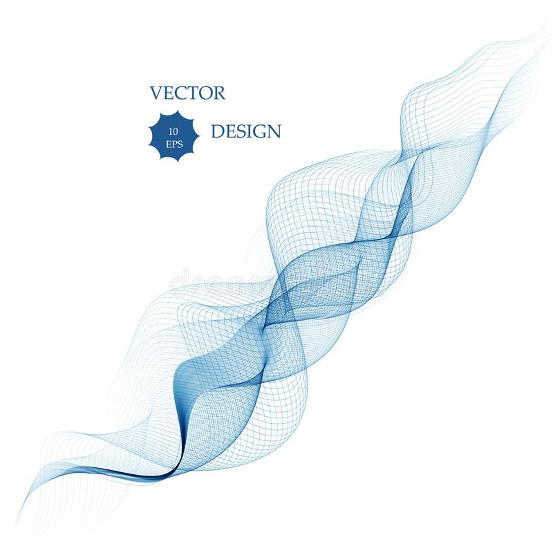 Abstract smooth color wave vector. Curve flow blue motion illustration. Smoke design. Vector lines vector illustration