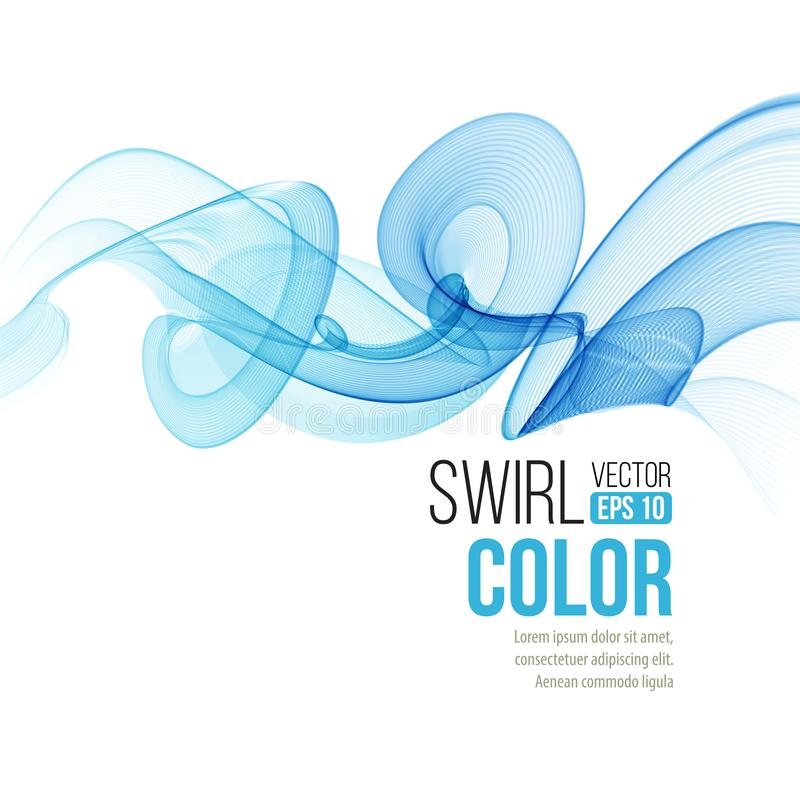 Abstract smooth color wave vector. Curve flow blue motionline. Smoke design. Vector illustration royalty free illustration