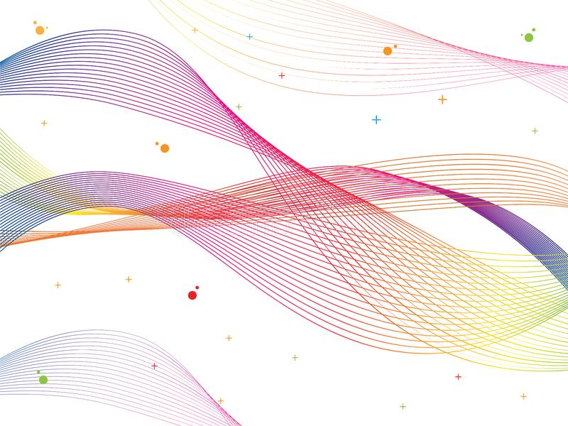 Abstract smooth color wave vector. Curve flow colorful motion illustration. stock illustration