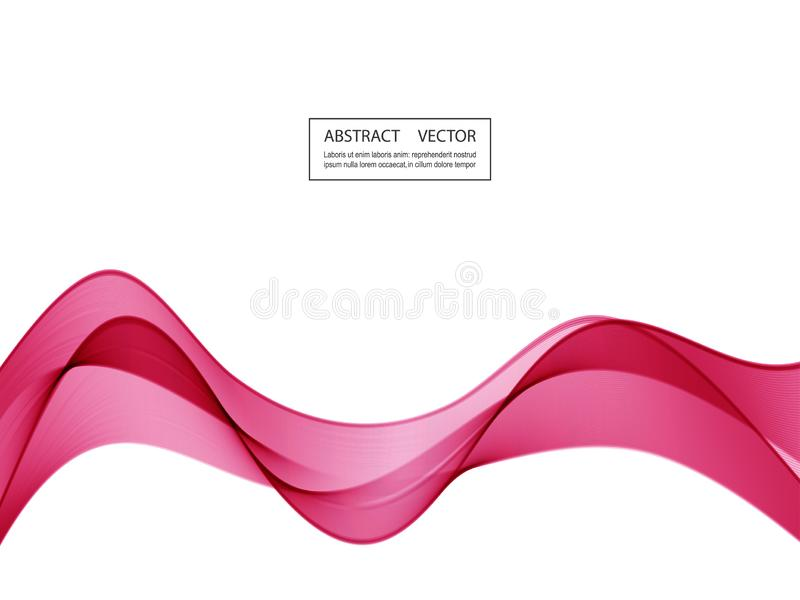 Abstract smooth color wave vector. Curve flow pink motion illustration. stock illustration