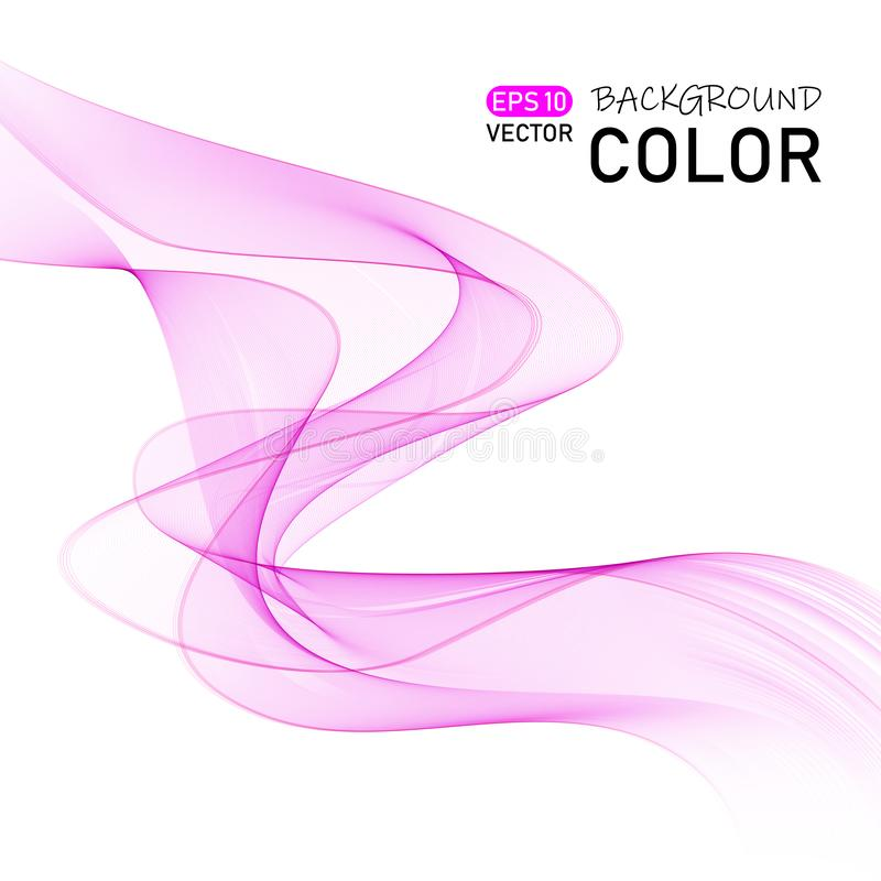 Abstract smooth color wave vector. Curve flow pink motion illustration. royalty free illustration