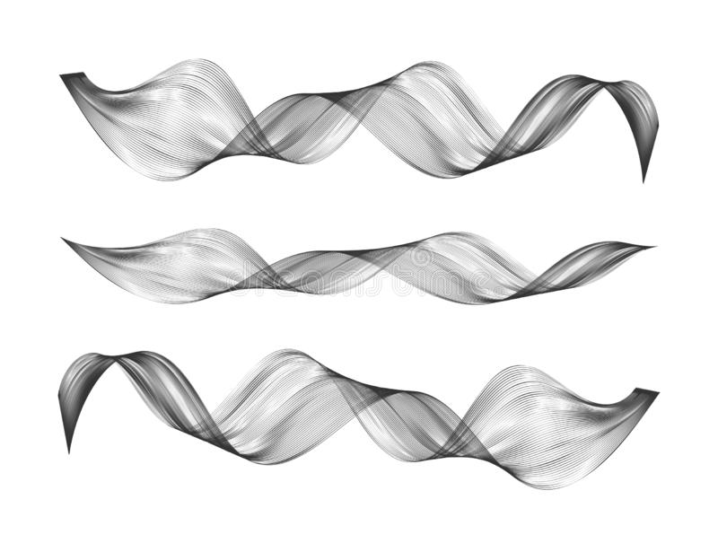Abstract smooth curve line Design element Stylized wave of music. Abstract smooth curve line. Design element. Stylized wave of musical digital equalizer royalty free illustration