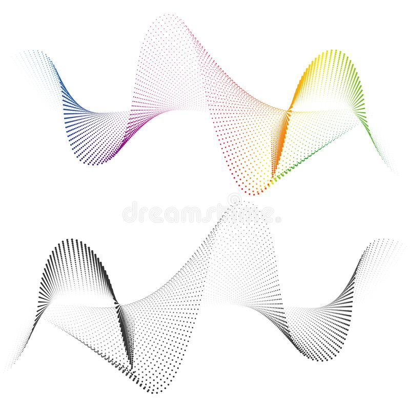 Abstract smooth curved lines from dots halftone Design element Technological background with a line in the wave form. Abstract smooth curved lines from dots stock illustration