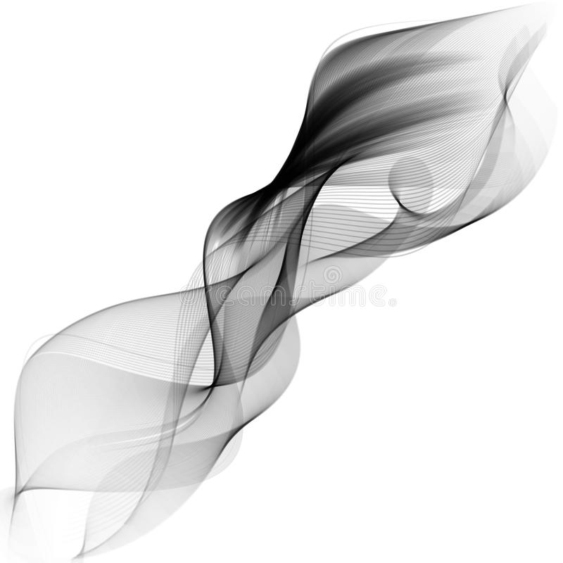 Abstract smooth gray wave vector. Curve flow grey motion illustration royalty free illustration