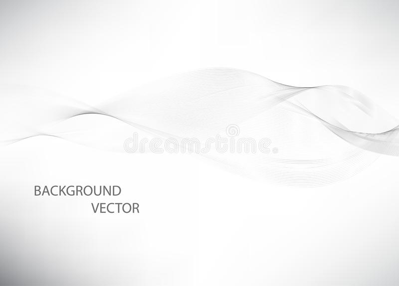 Abstract smooth gray wave vector. Curve flow grey motion illustration. Gray smoke. Business wave background. Technology wave banner stock illustration
