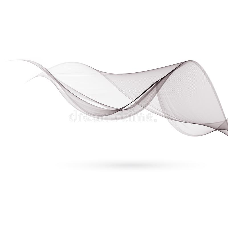 Abstract smooth gray wave vector. Curve flow grey motion illustration. Smoke design. Vector lines stock illustration