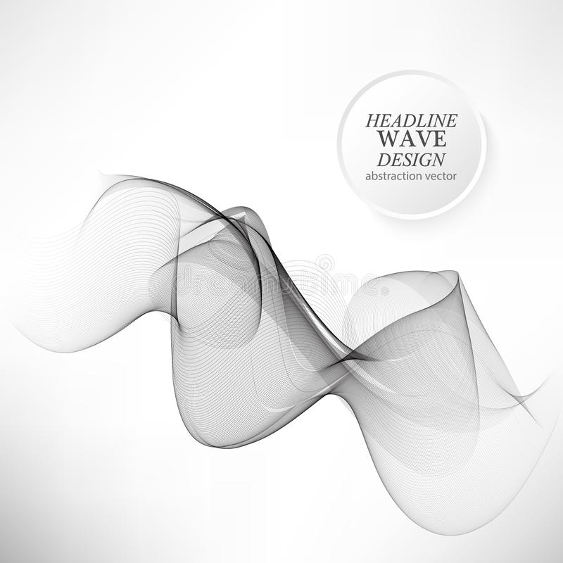 Abstract smooth gray wave vector. Curve flow grey motion illustration stock illustration