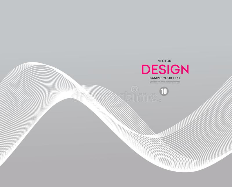 Abstract smooth gray wave vector. Gray smoke. Business wave background. Technology wave banner stock illustration