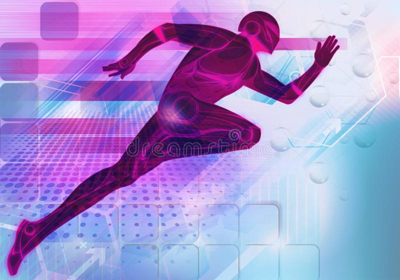 Abstract smooth multicolored modern futuristic 3d rendering illustration of a man running as the flash on a unique artwork stock illustration