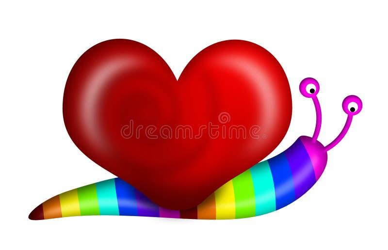 Abstract Snail Heart Shape Shell Rainbow Colors. Abstract Snail with Heart Shape Shell and Rainbow Colors Illustration stock illustration