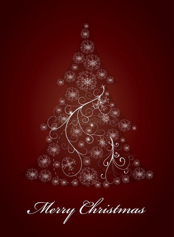Abstract snowflake christmas tree stock illustration