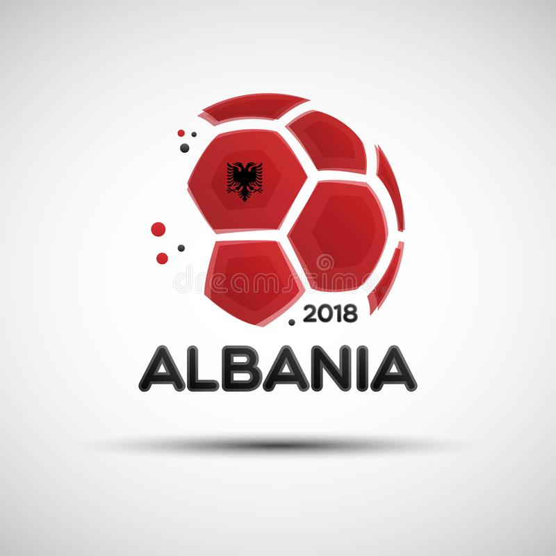 Abstract soccer ball with Albanian national flag colors stock illustration