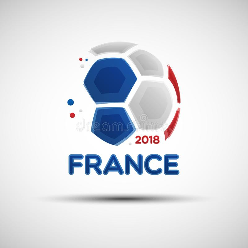 Abstract soccer ball with French national flag colors stock illustration