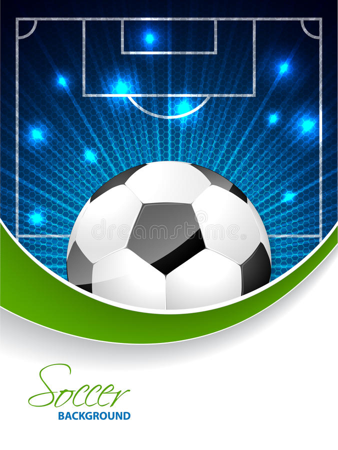 Abstract soccer brochure with bursting ball and space for text stock illustration
