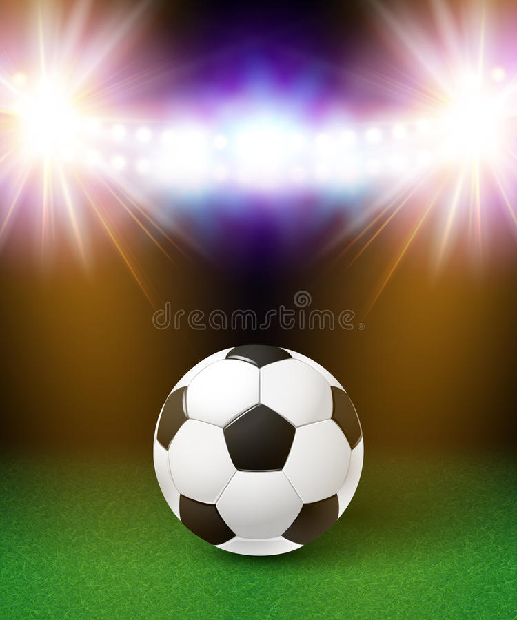 Abstract soccer football poster. Stadium background with bright stock illustration