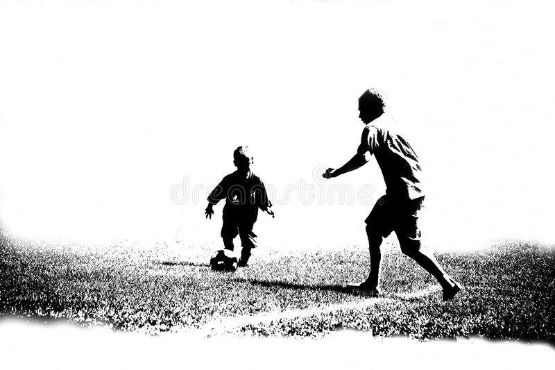 Abstract Soccer Players. Black and white abstract of boy soccer players stock images