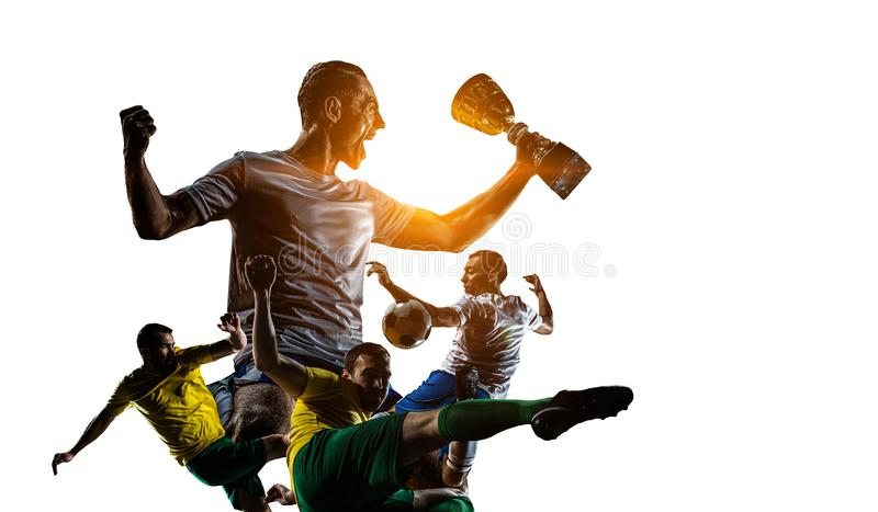 Abstract soccer theme - hottest match moments stock photography
