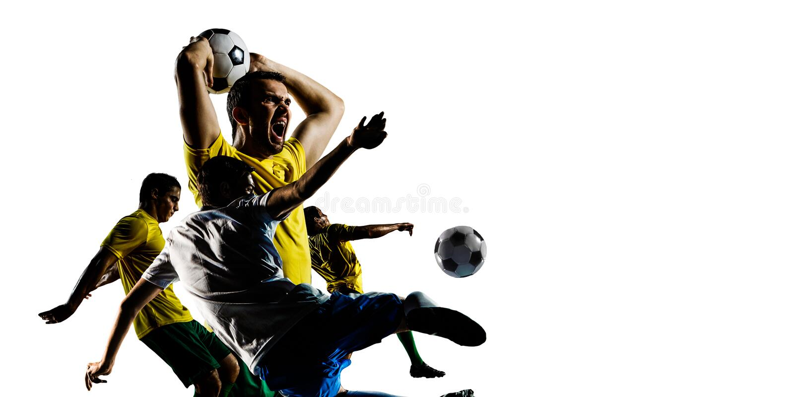 Abstract soccer theme - hottest match moments stock photos
