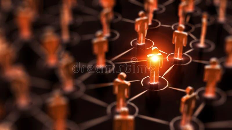 Abstract Sociaal netwerkconcept, verbindende menselijke cijfers stock afbeelding