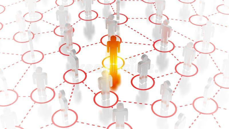 Abstract Sociaal netwerkconcept, verbindende menselijke cijfers royalty-vrije stock afbeelding