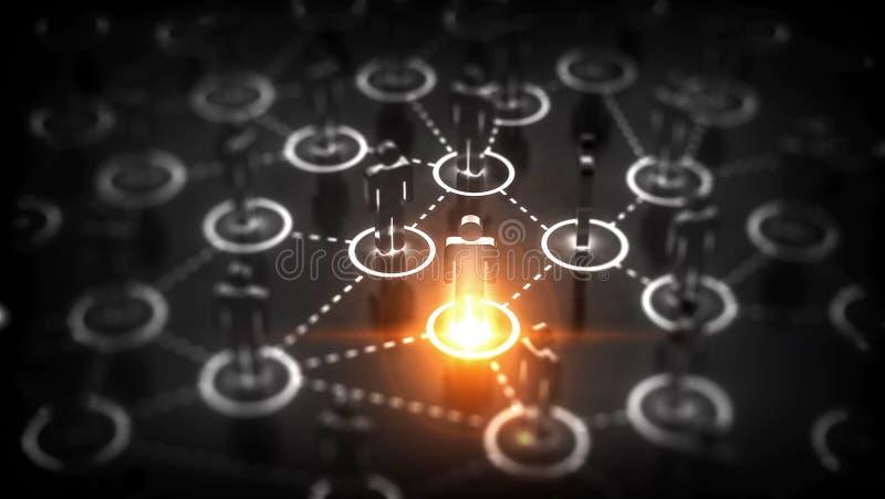 Abstract Sociaal netwerkconcept, verbindende menselijke cijfers stock illustratie