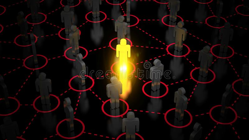Abstract Sociaal netwerkconcept, verbindende menselijke cijfers vector illustratie