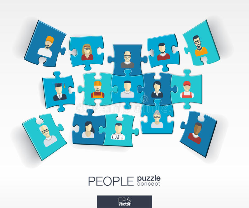 Abstract social background with connected color puzzles, integrated flat icons. 3d infographic concept with people vector illustration