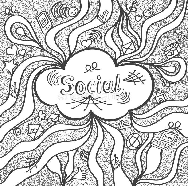 Abstract social cloud in doodle style black white for website banners and other things or for coloring page royalty free illustration