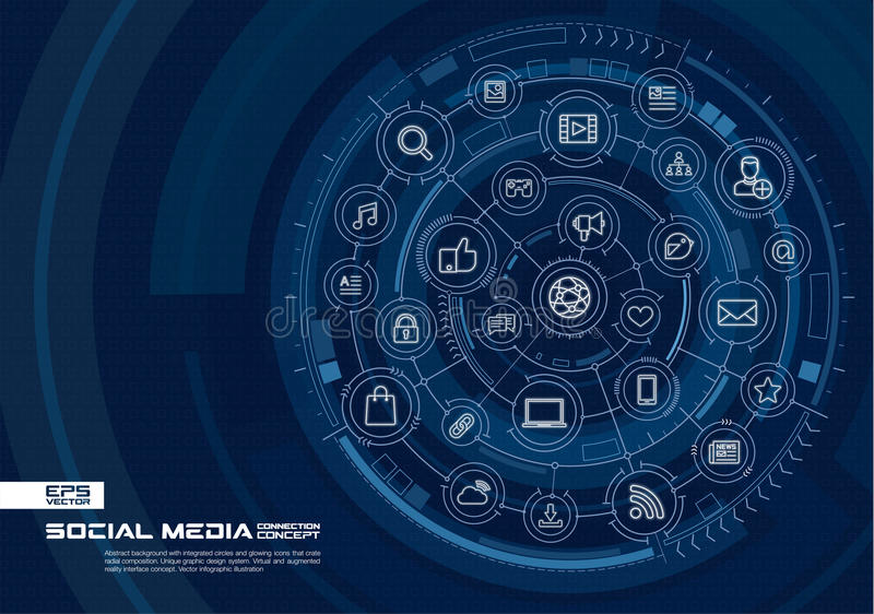 Abstract Social Media background. Digital connect system with integrated circles, glowing thin line icons. Virtual, augmented reality interface concept. Vector vector illustration
