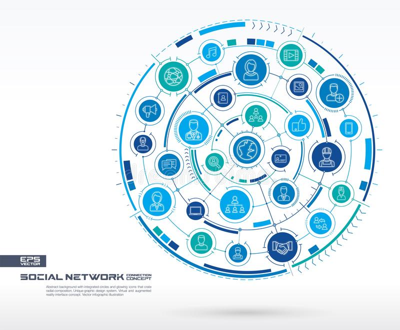 Abstract social network background. Digital connect system with integrated circles, glowing thin line icons. Virtual vector illustration