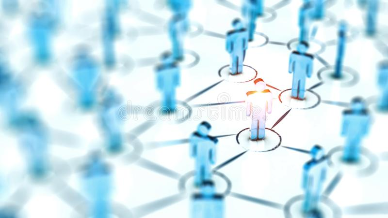 Abstract Social network concept, connecting human figures. royalty free stock photos
