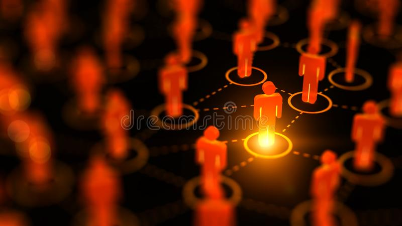 Abstract Social network concept, connecting human figures. stock photography