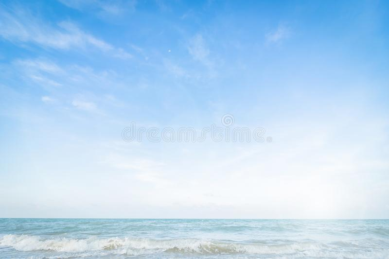 Abstract soft blur nature tropical beach with green coconut palm leaf and light wave bokeh background concept for blurry sky stock images