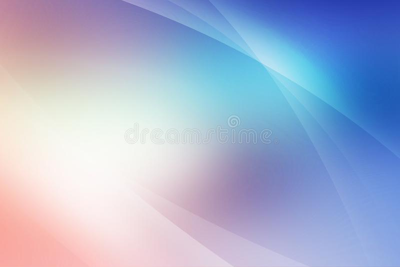 Abstract soft colored pink, purple, blue and dark blue background of abstract with curves wave line overlay. Pink and purple light line curves effect abstract royalty free illustration